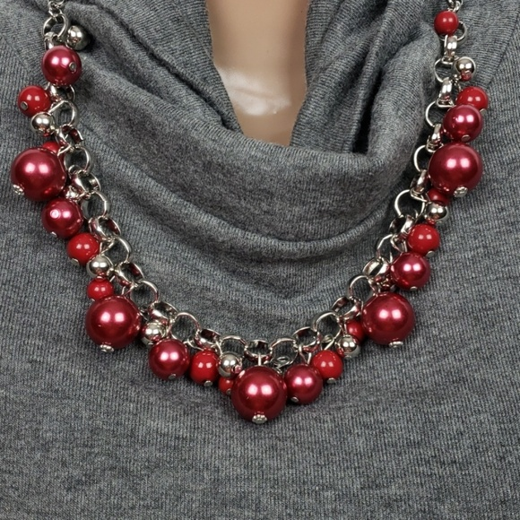paparazzi Jewelry - New Necklace w/Earrings Red Baubles Silver